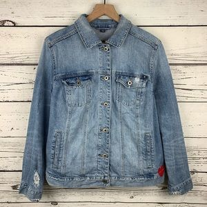 Lucky Brand Plus Size Embroidered Denim Jacket